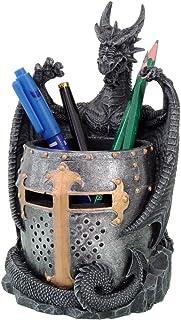 Dragon Statue with Warrior Helmet Desktop Utility Stationery Pencil Holder Organizer Office or Desktop