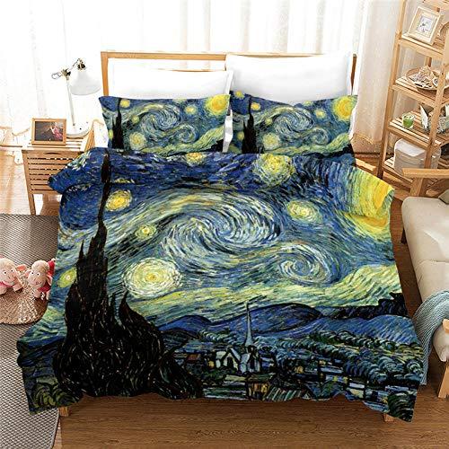 AHKGGM Funda Edredon 200x200cm Cielo Estrellado Azul Van Gogh 3 Piezas Juego de Funda nórdica de Microfibra Ligera con Cremallera Juego de Funda + 2 Fundas de Almohada