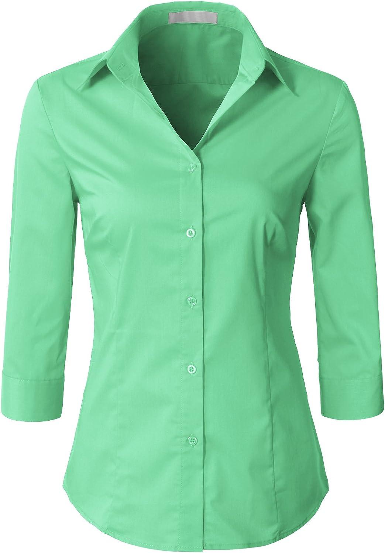 H2H Women Casual Slim Fit Button Down Dress Shirts 3 4 Sleeve Office Blouse Top Aqua