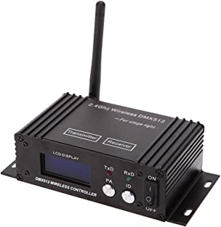 Lixada 2.4G Wireless DMX 512 Controller Transmitter Receiver LCD Display Power Adjustable Repeater Lighting Controller