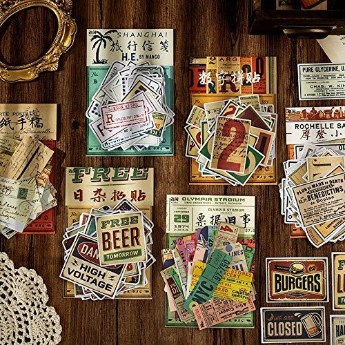BLOUR 60 Stück/Los Kawaii Briefpapier Aufkleber Retro Vergangenheit Rechnung DIY Craft Scrapbooking Album Junk Journal Happy Planner Tagebuch Aufkleber