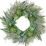 idyllic 20 Inches Artificial Wreath Farmhouse Spring Greenery Succulent Wreath for Front Door Home Office Decoration with Leaves Swags and Garlands Real Twig Based