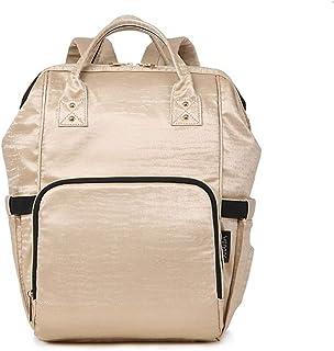 Redland Art Fashion Nappy Baby Bag Quilted Large Mum Maternity Nursing Bag Travel Backpack Stroller Baby Diaper Bag Backpack (Color : Gold)