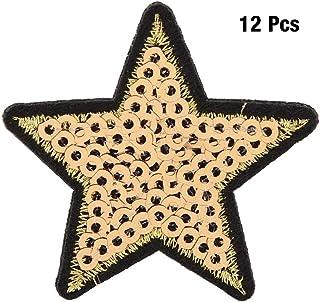 12-teilige Pailletten-Sternpatches Goldstickerei Pailletten-Fünfzack-Sternapplikationen Pailletten Nähen Sie Eisen auf applizierte Stickereien