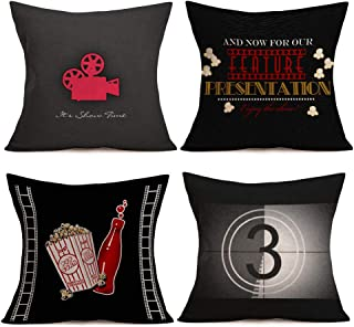 Asminifor Throw Pillow Cover Movie Theater with Popcorn Drink Film Reels Decorative Pillow Case Home Couch Decor Square 18 x 18 Inch Set of 4 Cinema Cushion Pillowcase (Black Cinema)