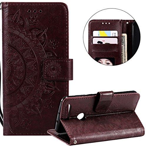 Surakey Compatible avec Coque Huawei Honor 8 Housse en Cuir PU Leather Etui Portefeuille à Rabat Mandala Fleur Motif Clapet Support Fermeture Flip Wallet Case pour Huawei Honor 8,Fleur Marron