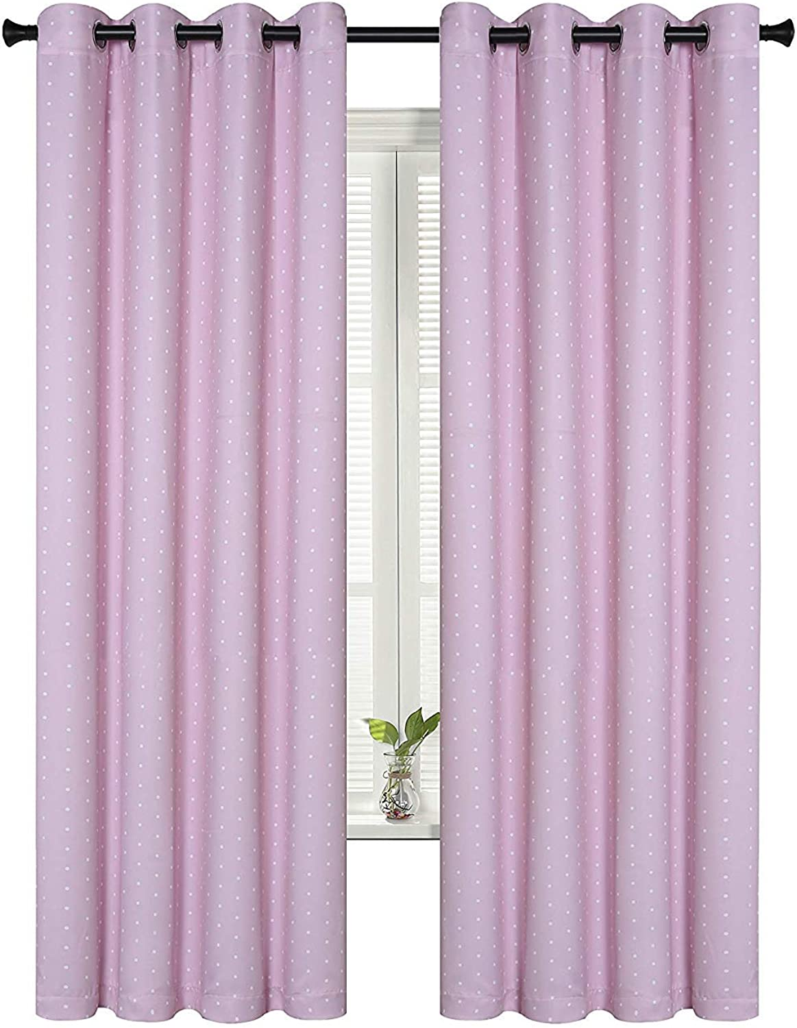 SUO AI TEXTILE Circle Print Curtains Room Darkening Rod Pocket Curtain Panels for Girls Room 52x95 Inch Pink and White Set of 2