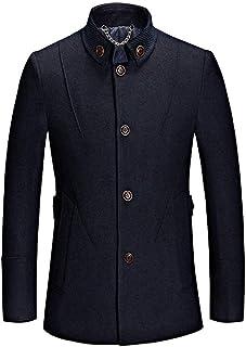 Targogo Cappotto da Uomo Business Casual Giacca Invernale Tinta Unita Abbigliamento Slim Vintage Fit Soprabito A Maniche L...