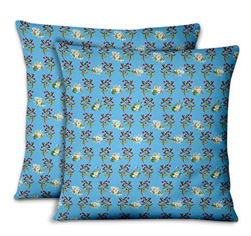 S4Sassy Bleu Velours Fruits Rouges et Rose Polo taies d'oreiller chambre'coucher Design Housse de Coussin Jeter pour la Maison 2pièces-22 x 22 Pouces