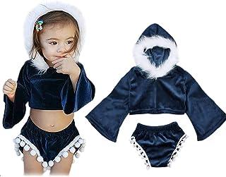 Conjunto de Ropa - Parte Superior de Terciopelo con Capucha y Pantalones Cortos de borlas - Manga Larga - para niña