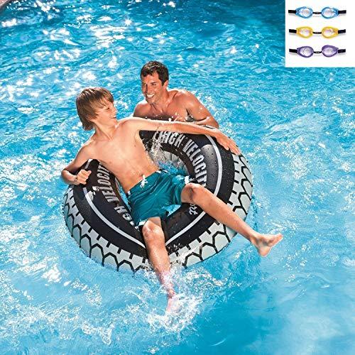 Zwemband Monster Truck banden tube met 2 handgrepen 114 cm Ø Of het nu op het strand of in het eigen zwembad is: deze zwemband in de vorm van een monster-druk-band is een echte blikvanger. Door zijn grote diameter van 119 cm, de twee stevige handgrepen en de verwerking van duurzaam, gecontroleerd vinylmateriaal is deze zwemband vooral iets voor grotere kinderen.
