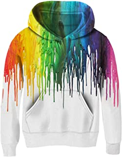 AIDEAONE Boys Girls Novetly Hoodies 3D Print Kids Pullover Hooded Sweatshirts with Pockets and Cotton Liner 5-13 Years