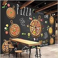 Lcymt カスタム壁壁画ピザショップ手描き抽象ピザ3D写真壁紙カフェデザートショップ西洋レストラン壁画-250X175Cm