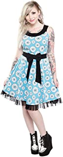 Sourpuss Aqua Blue & Black Eye Wanna Dance Dress from Clothing