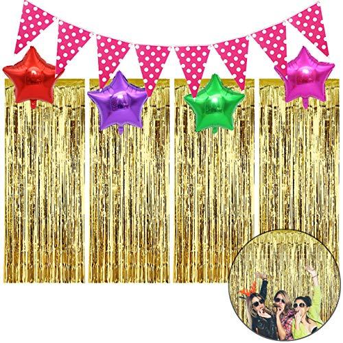 YuChiSX DIY Photo Booth decoraties, metalen lametta gordijnen/folie gordijn voor verjaardag bruiloft, deur raam achtergrond foto rekwisieten voor party decoraties goud