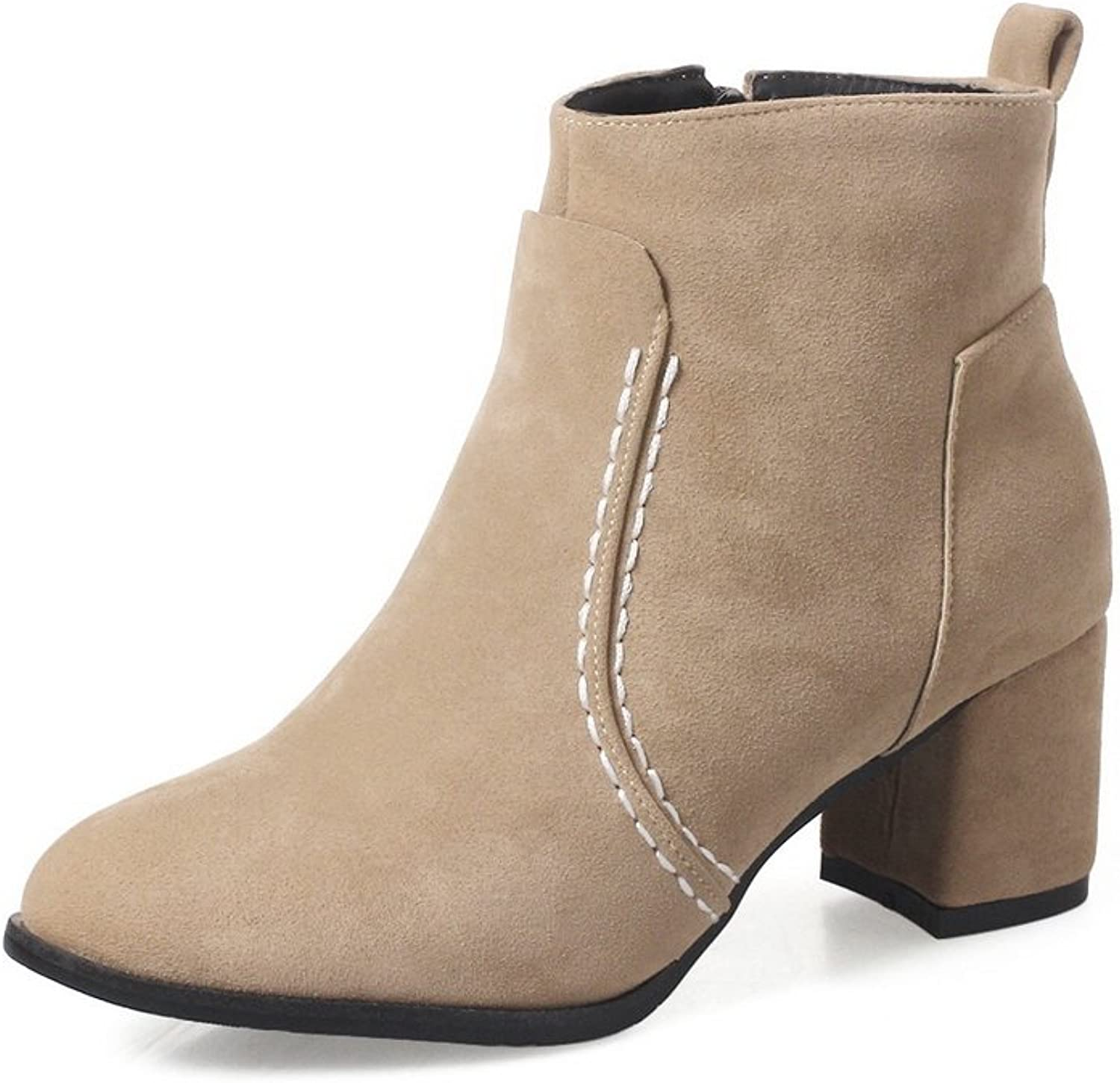 1TO9 Womens Boots Closed-Toe Zip Kitten-Heel Rubber Warm Lining Leather-And-Synthetic Dress Fur-Lined Urethane Boots MNS02471