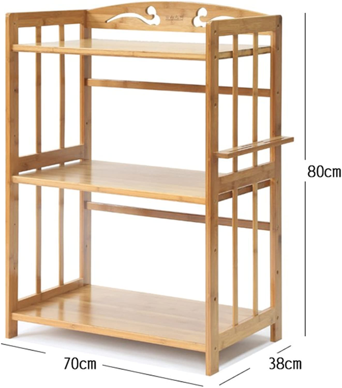 Shelf Microwave Rack Kitchen Floor Bamboo Solid Wood Shelf Storage Shelf Simple Shelf Three-Storey Shelf -by TIANTA (Size   80  38  70cm)