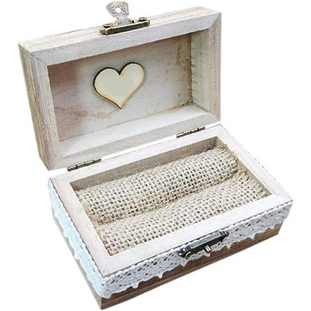 Scatola per anelli in legno di lusso, per anelli di fidanzamento, matrimonio, in stile vintage, in legno, per fidanzamento, fedi nuziali, colore: marrone