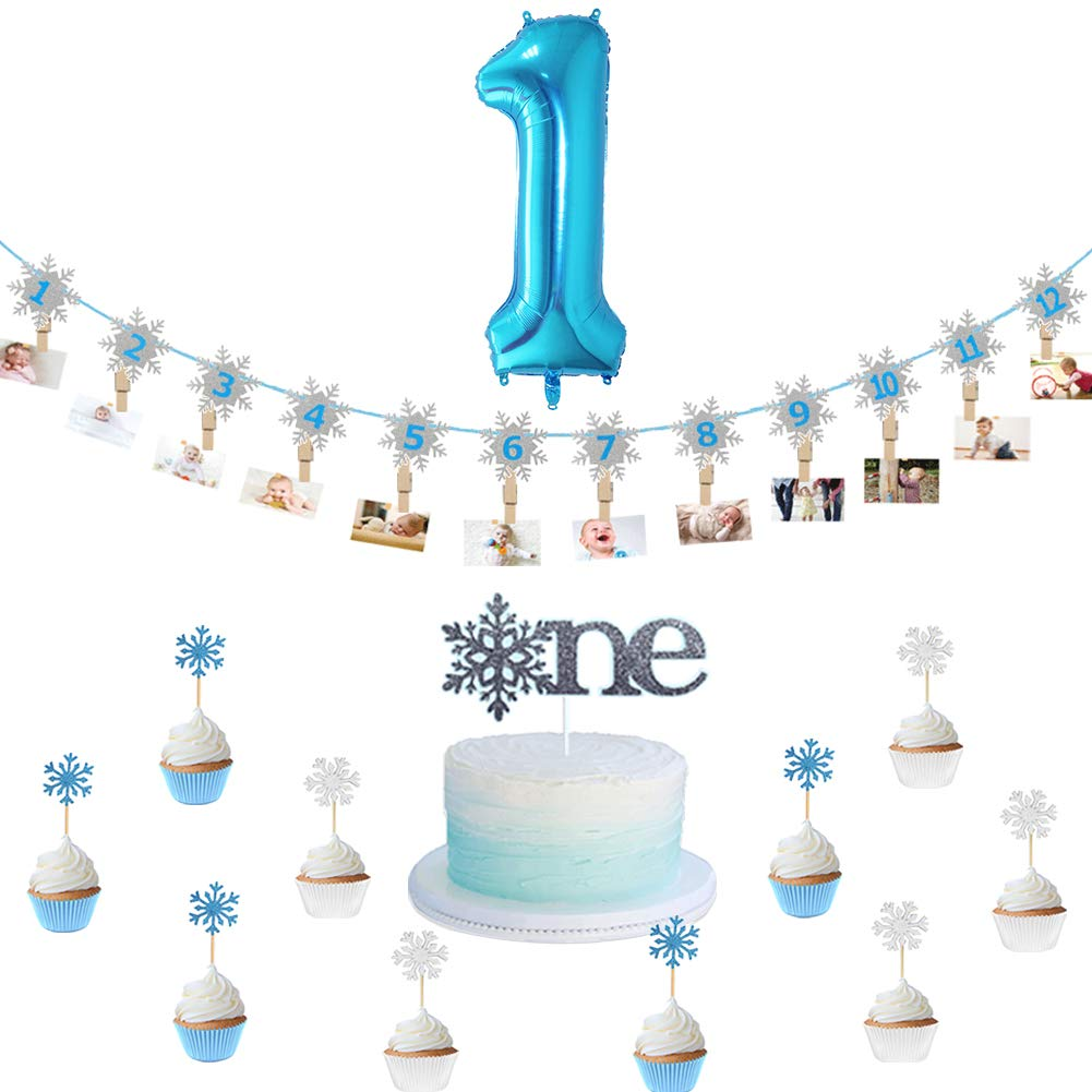 Christmas Snowflakes for Frozen First Birthday Party Supplies Winter Onederland First Birthday Baby Shower Winter 1st Birthday Blue Onederland Balloons Winter Onederland Birthday Decorations