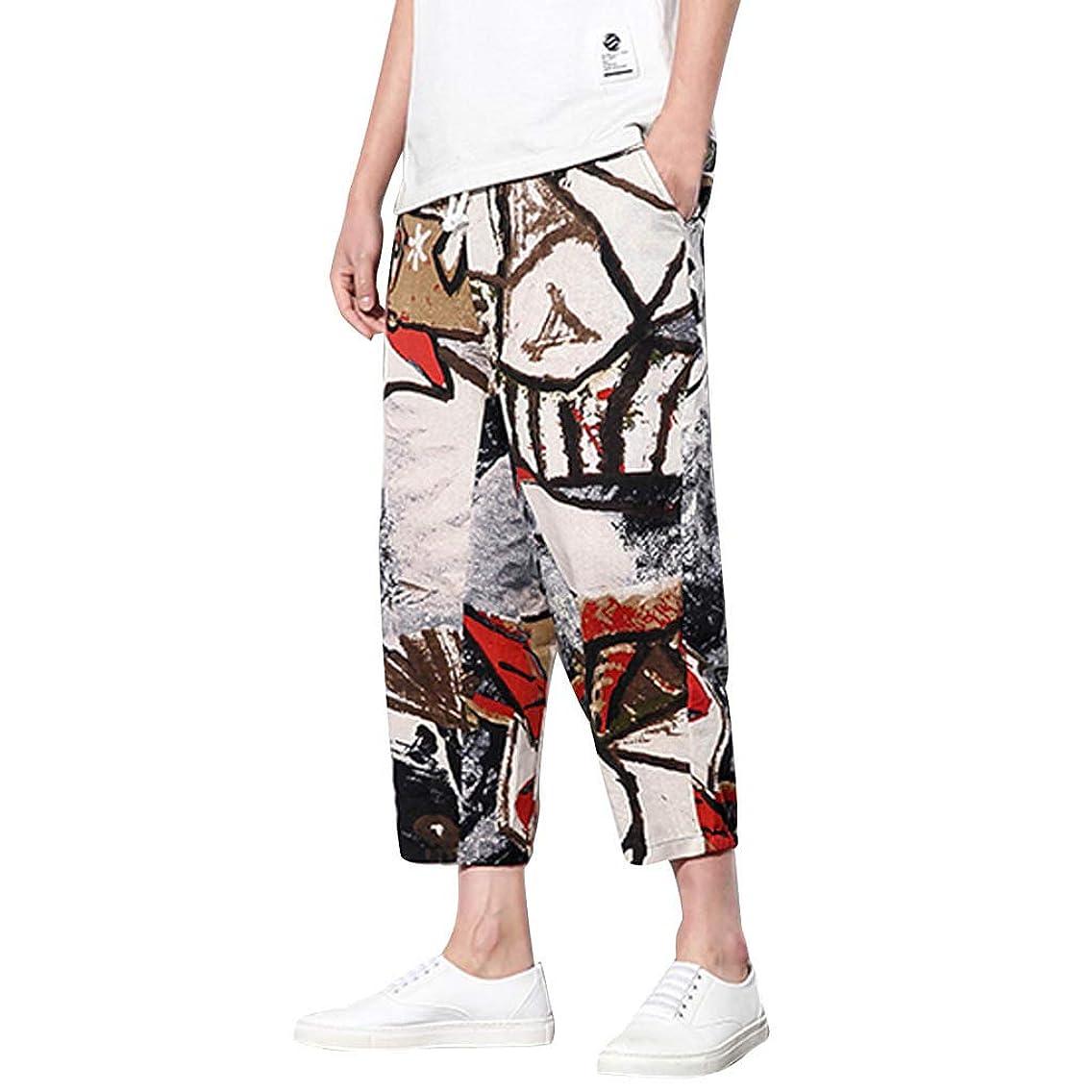 LEERYAAY Trunk&Short Men's Summer Fashion Leisure Ethnic Style Printing Linen Loose Ankle-Length Pant