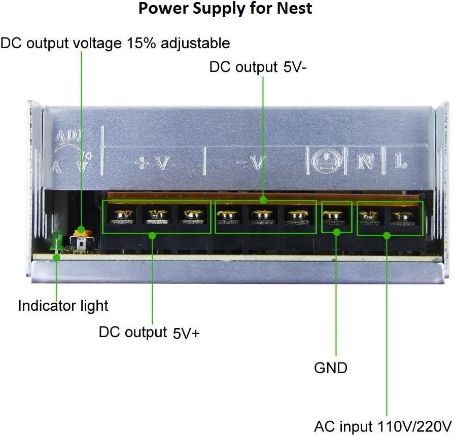 Power Supply Transformer Adapter Converter for Nest Cameras AC110V to DC 5V up to 16 Cameras 60amp CCTV Camera Security System