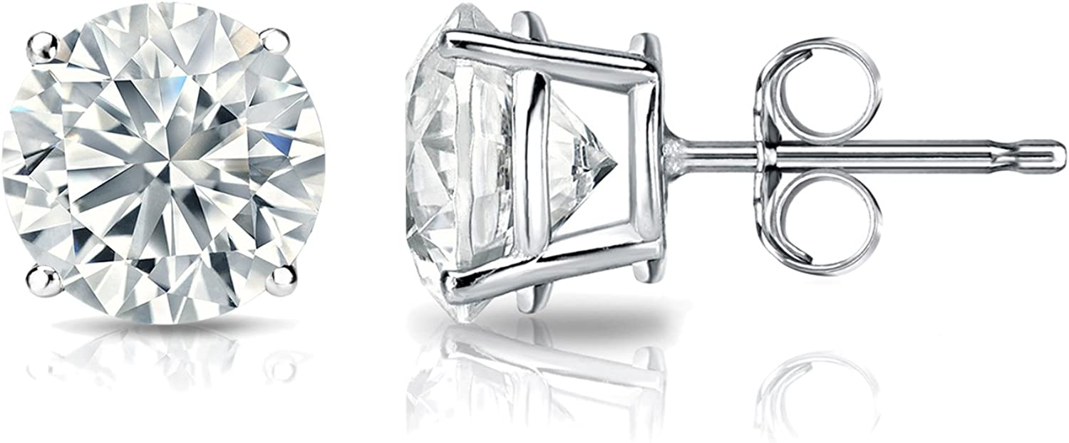 IGI Max 86% OFF Certified lowest price 18k White Gold Stud Diamond Round 4-Prong Earrings
