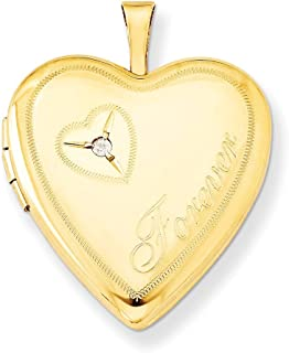 1/20 Gold Filled 20mm Diamond In Heart Forever Photo Pendant Charm Locket Chain Necklace That Holds Pictures W/chain Fashion Jewelry Gifts For Women For Her