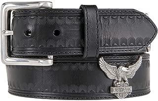 Harley-Davidson Men's Road Wing Genuine Leather Belt, Black HDMBT11122-BLK