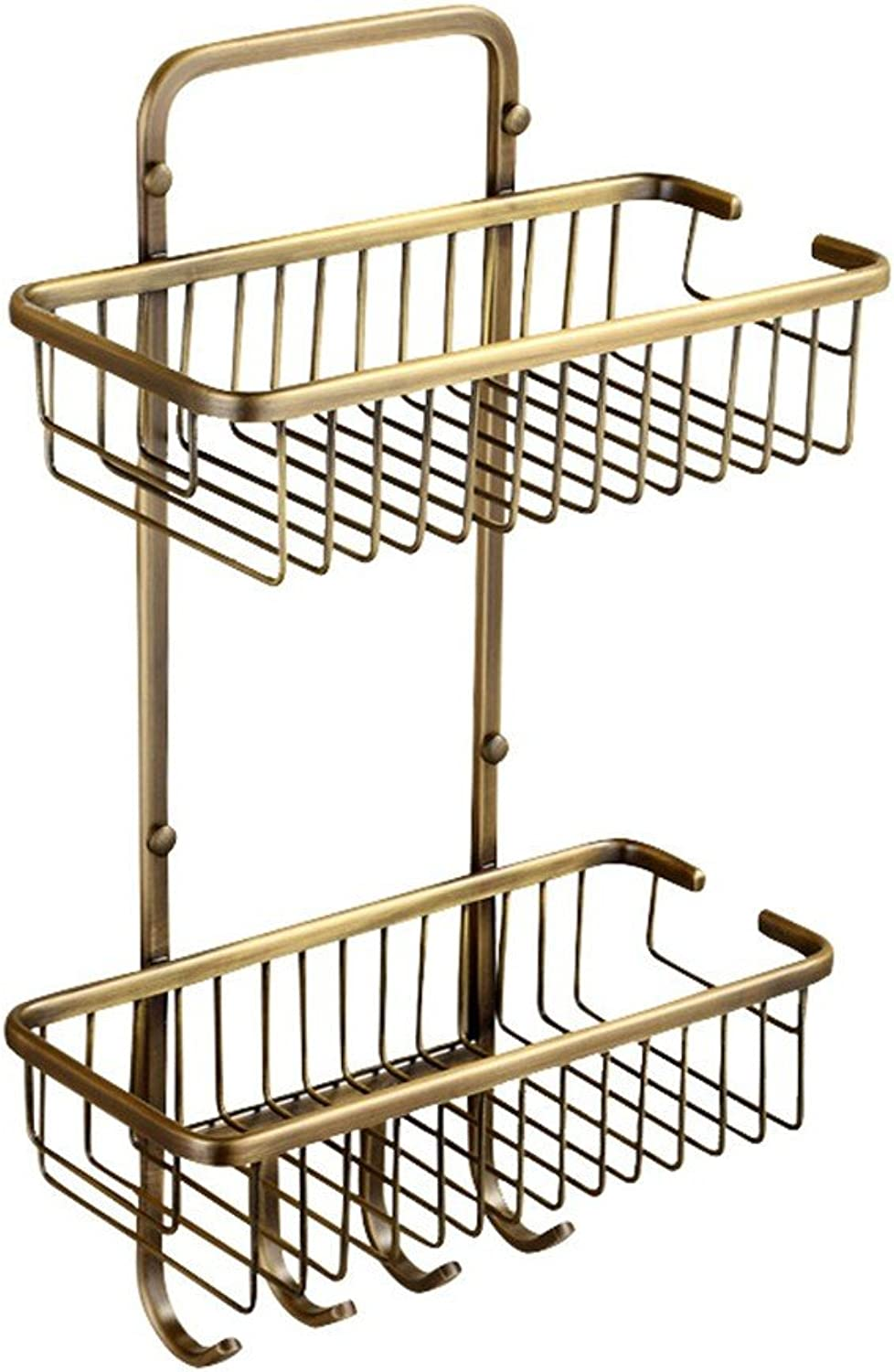 XY&XH The Bathroom Full Copper Antique Double Hook Basket