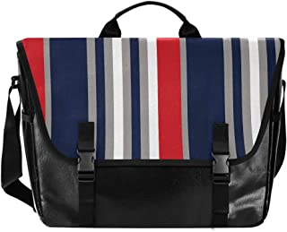 Bolso de lona para hombre y mujer, diseño de rayas, color rojo, azul, gris