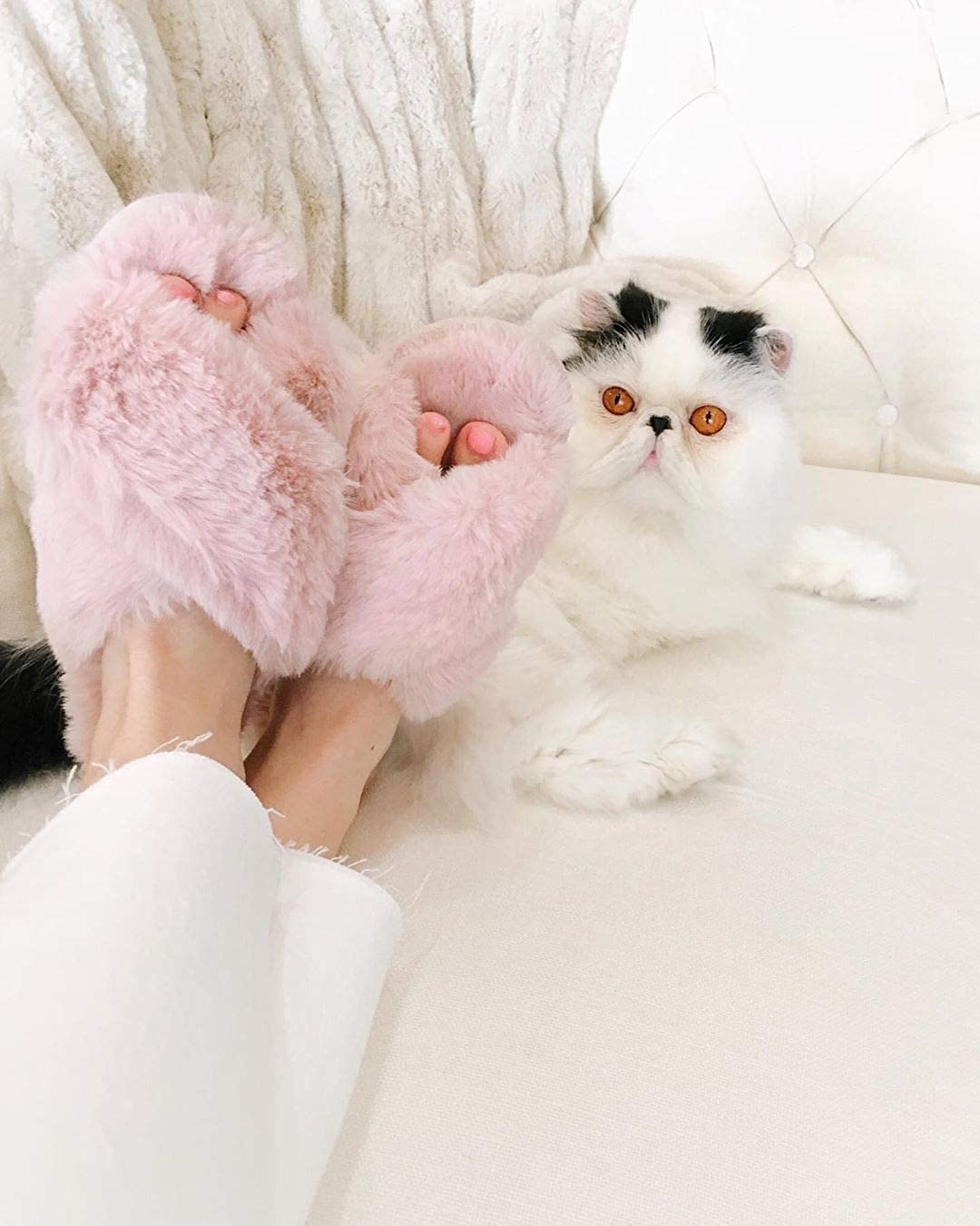 Womens Fuzzy House Slippers Cross Band Cozy Plush Fleece Indoor Outdoor Slippers Memory Foam Bedroom Slippers Shoes Open Toe Fluffy Slippers