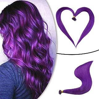 Runature U Tip Nail Hair Extensions Purple Color 25g (1g/Strands) 25 Strands 22 Inches Hair Extensions Human Hair Extensions Pre Bonded Hair Extentions Human Hair Extensions