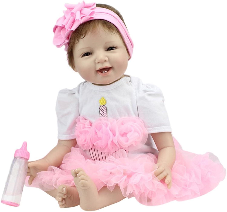 LUCKDE Puppe, Babypuppe Wie Echtes Baby Reborn Babypuppe Soft Silikon Vinyl Kind Magnetische Mdchen Geburtstagsgeschenk 22 Inch 55 cm (55cm, PK)