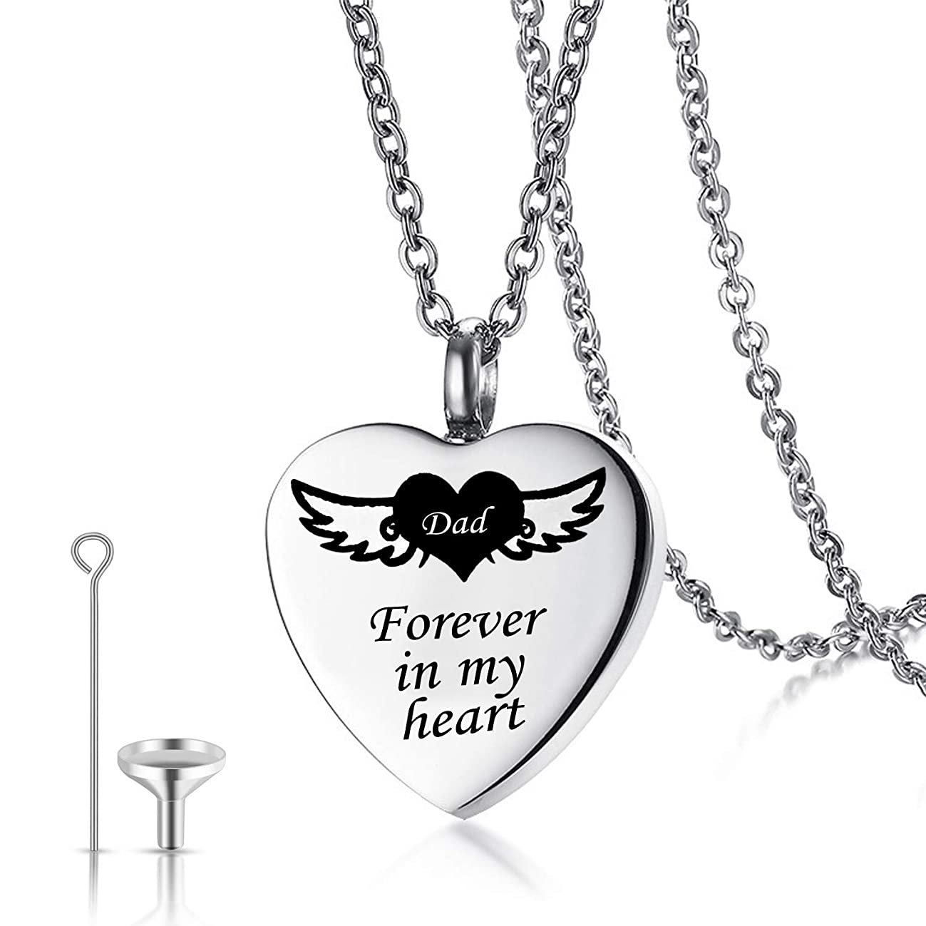 Urn Necklaces for Human Ashes Forever in My Heart Cremation Jewelry Necklace Pendant Funnel Filler Kit