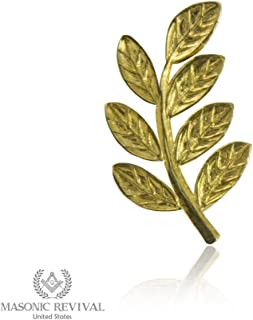 Masonic Revival Sprig of Acacia Lapel Pin (Golden)