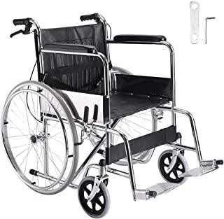 """Yescom Lightweight Folding Wheelchair 24"""" Tyres with Park Brakes Dual Brakes Transport Mobility Aid Safety Belt Silver"""