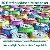 Getränke Box (30 Dosen, Mischkarton light/zero Dosen mit Beulen, kurzes MHD ) A4 Text lesen