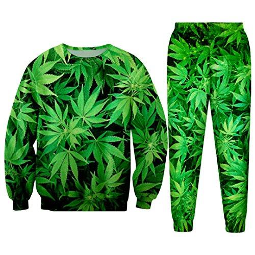 WEPTANSES Lässige Streetwear Sweatshirt und Hosen Feuille Green Hanf Blatt Weed 3D Crewneck Hoodie Pullover Männer Und Frauen Trainingsanzug 3D Green Tracksuits L