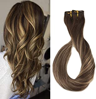 Full Shine 14 Inch Straight 9P 100G Clip Hair Extensions Color #4 Fading To Color #24 And Color #4 Highlighted Clip in Quality Hair Extensions