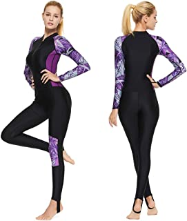 Full Body Scuba Rash Guard Lycra Dive Skin UV Swimwear Sport Skins for Men Women, Long Sleeve One Piece Front Zipper Diving Wetsuit for Surfing Swimming Snorkeling Canoeing