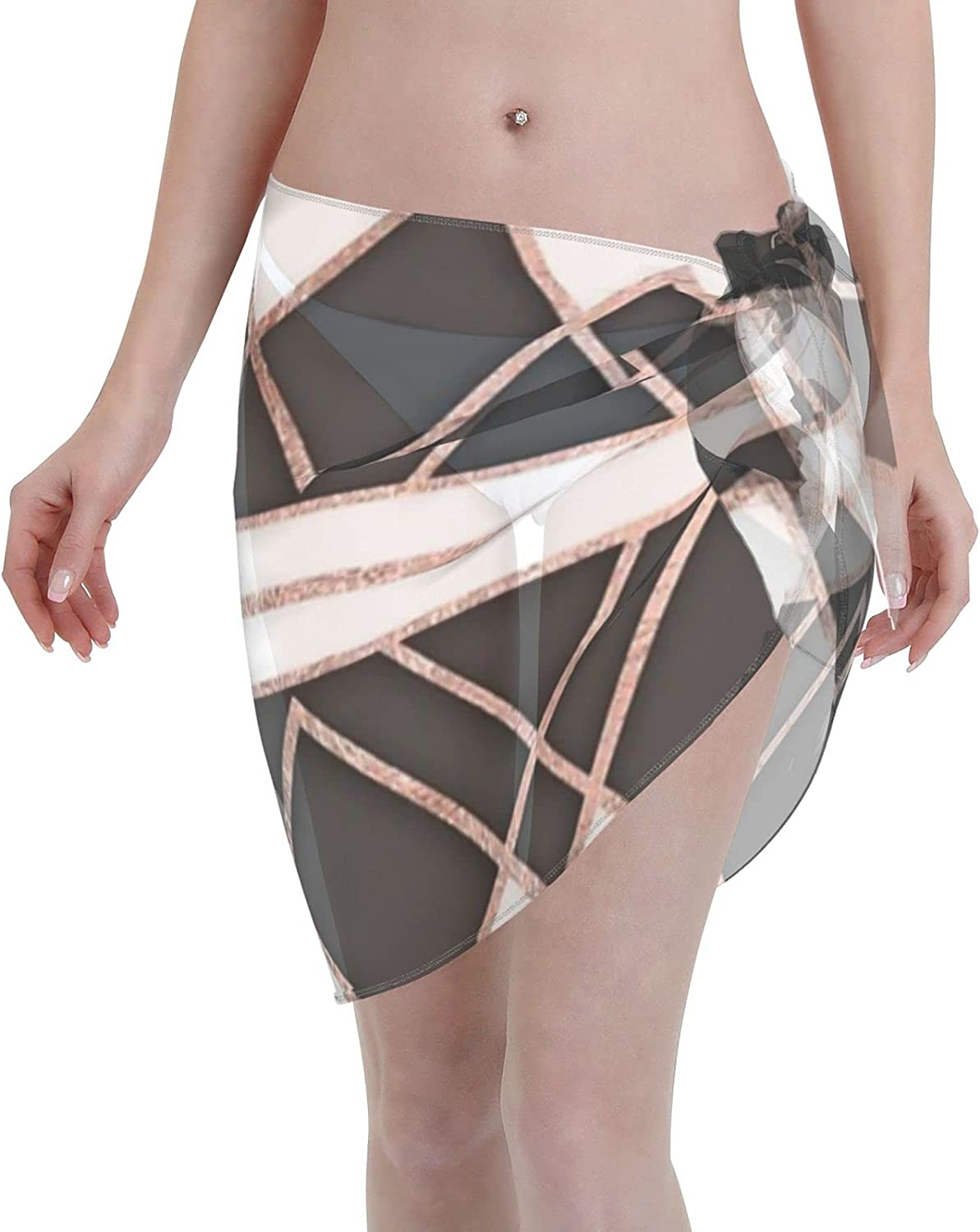2053 pants Modern Chic Rose Gold Black and White Triangles Women Chiffon Beach Cover ups Beach Swimsuit Wrap Skirt wrap Bathing Suits for Women