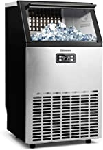 Euhomy Commercial Ice Maker Machine, 100lbs/24h Stainless Steel Ice Cube Machine with 33LBS Ice Storage Capacity, Free-Standing Ice Maker Machine Ideal for Home,Office,Restaurant,Bar,Coffee Shop.