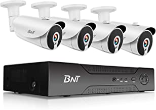 BNT 1080P 8CH PoE Security Camera System, 4 Bullet Camera, 7/24 Video Recording Onvif, Free APP Remote Monitor, Motion Detect, IP67 Waterproof Indoor Outdoor, Support Max.8TB Hard Drive-Not Contained