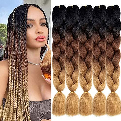 KETHBE 5Pcs Ombre Jumbo Braiding Hair Crochet Twist Hair Extensions 24 inch Box Braids Heat Resistance Synthetic Fiber Hair for Women(Black to Deep Brown to Light Brown)
