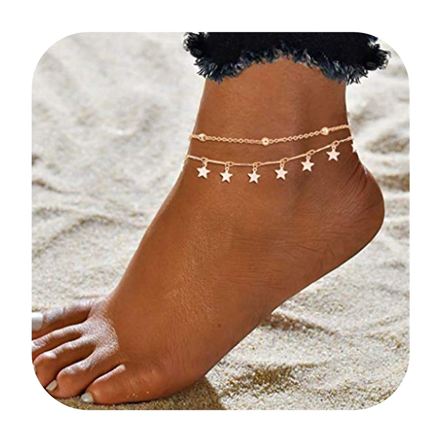 LANG XUAN Blue Compass Turtle Anklet Multilayer Charm Beads Sea Handmade Boho Anklet Foot Jewelry for Women