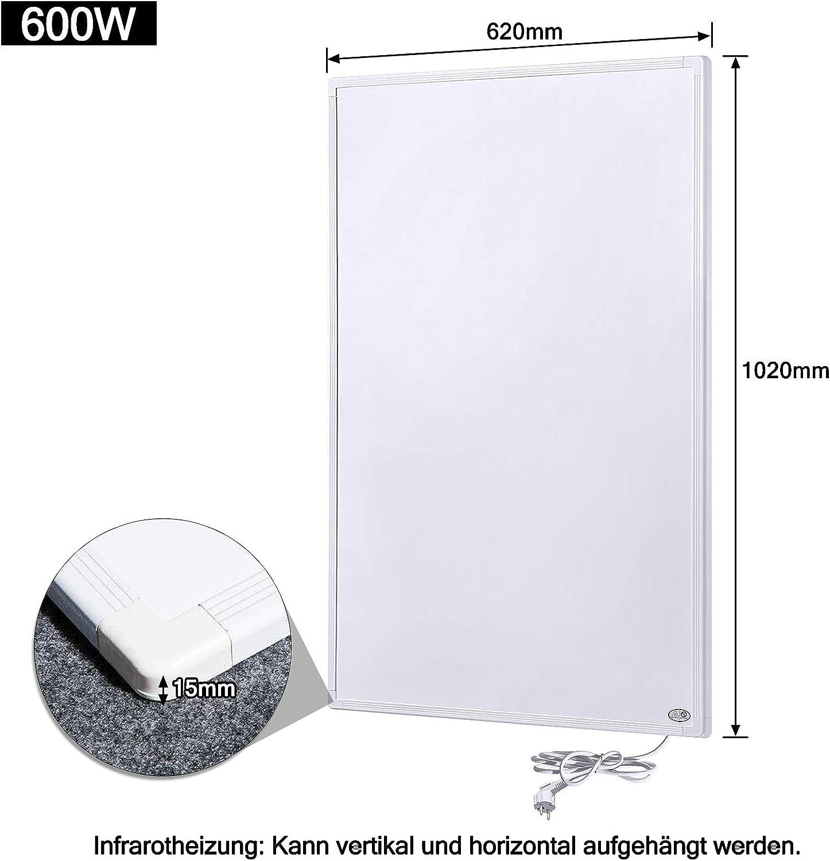 Aufun Termostato de calefacci/ón por infrarrojos 300W//600W//800W//1000W panel de calefacci/ón por infrarrojos