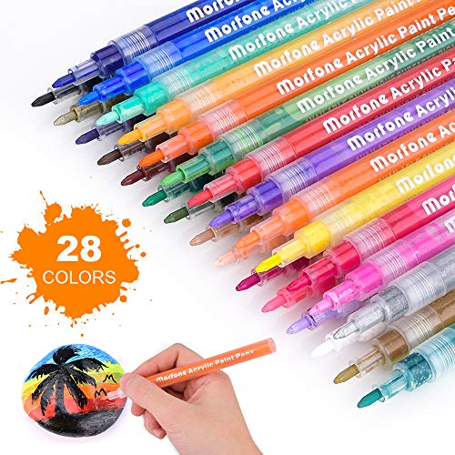 Acrylic Paint Pens, Set of 28 colors 0.7mm Extra Fine Tip Paint Markers Water Based Pen for Rock Painting, Stone, Canvas, Glass, Ceramic, Wood, Metal, Plastic, Scrapbook, School Project