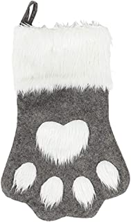 SherryDC Dog Cat Paw Christmas Stockings, Plush Hanging Socks for Holiday and Christmas Decorations (Large/18in, White-Grey)