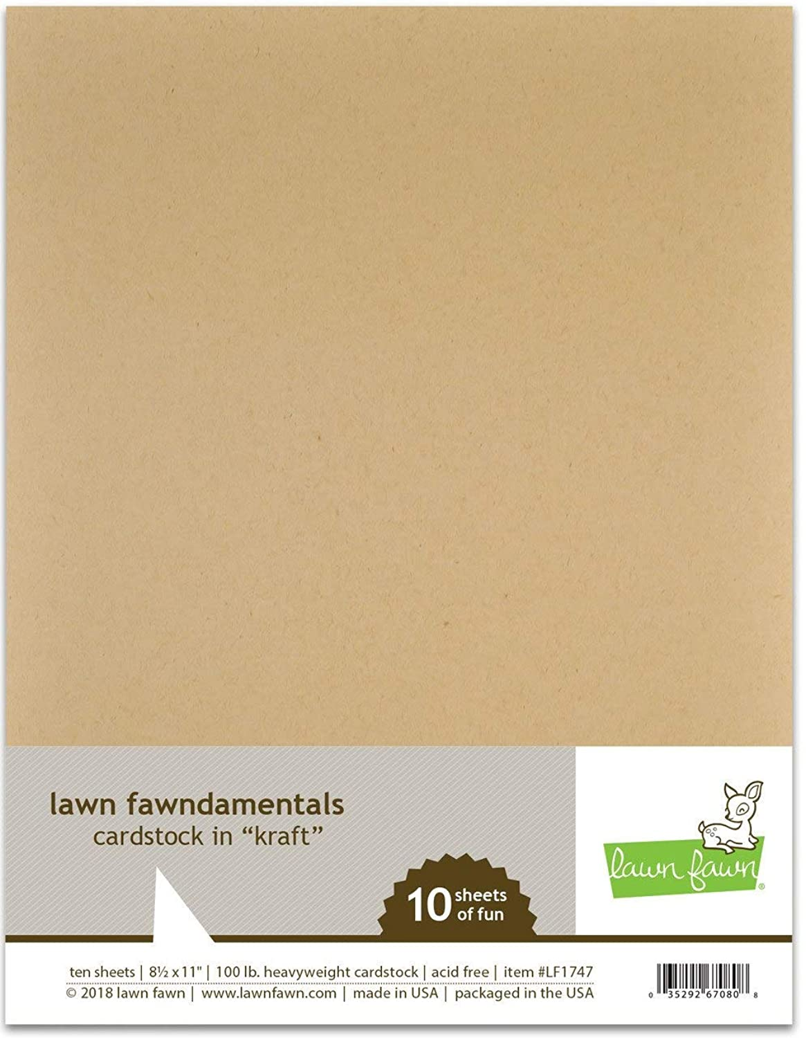 Lawn Fawn Kraft Cardstock, 10 Pack of 8 1/2