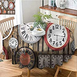 Elxmzwlob Indoor/Outdoor Round Tablecloth,Clock,Polyester Round Tablecloth,Vintage Wall-(35)
